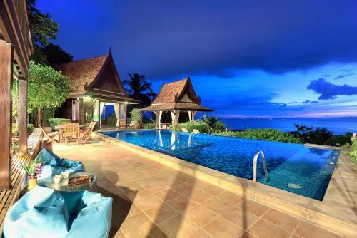 全景海景和日落美景泰國柚木別墅
